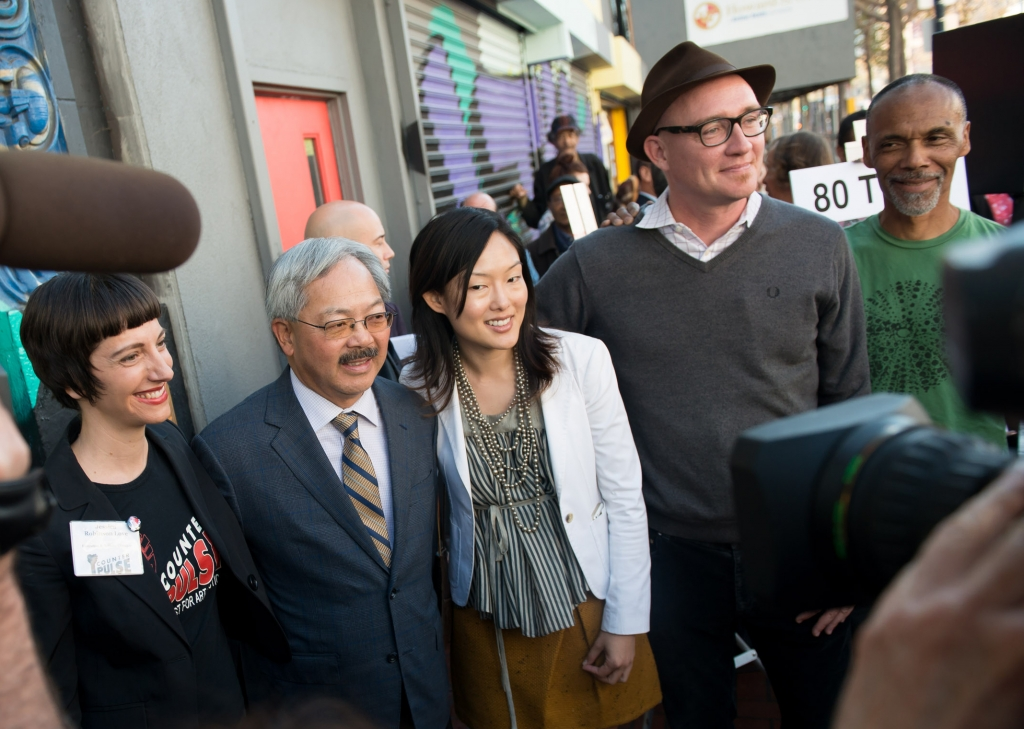 CAST Press Announcement November 13, 2013. Left to Right: Jessica Robinson Love (CounterPULSE), San Francisco Mayor Ed Lee, Supervisor Jane Kim, Eric Rodenbeck (CAST), Darryl Smith (Luggage Store Gallery)