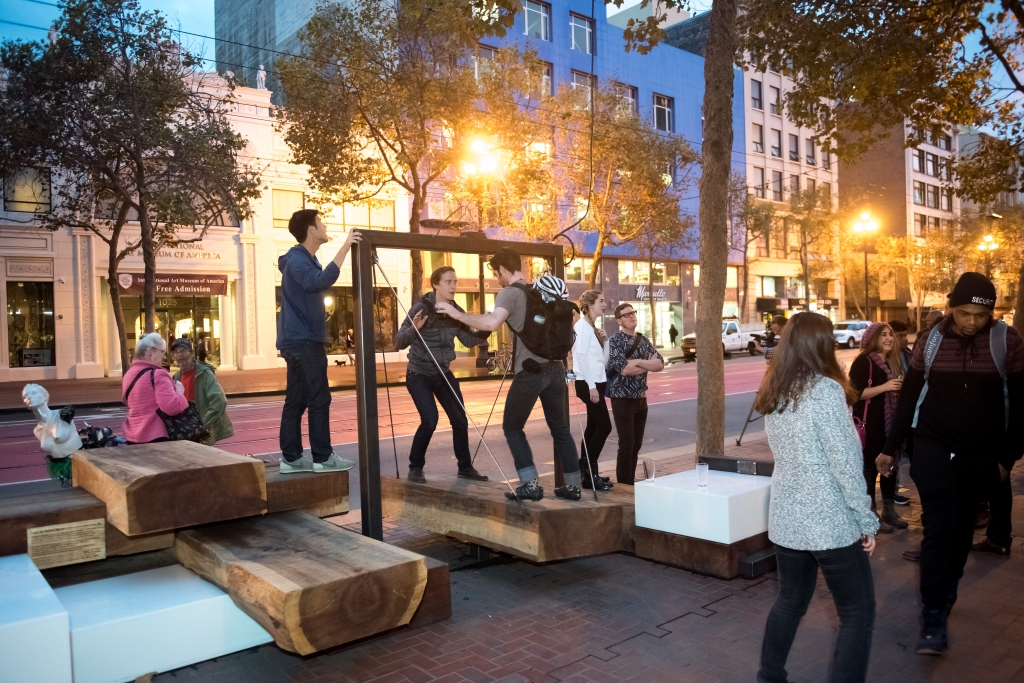 """Block by Block"" installation, part of the Light Up Central Market project, provides a space to sit, talk and enjoy the Central Market neighborhood."